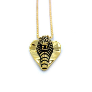 up close shot of the Cobra Lover Pendant in gold from the fantasy collection