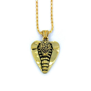 front of the Cobra Lover Pendant in gold from the fantasy collection