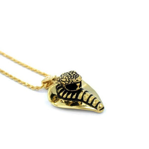 left angle of the Cobra Lover Pendant in gold from the fantasy collection