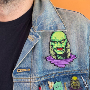Creature from the black lagoon iron on patch on jean jacket