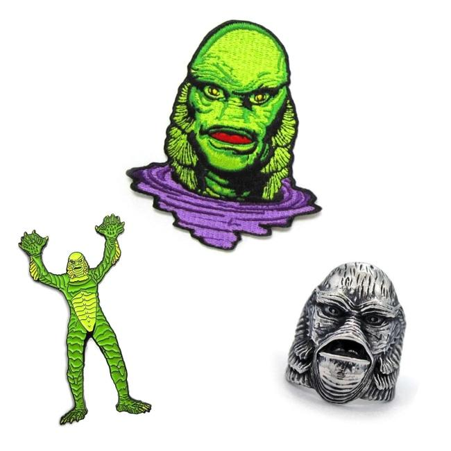creature from the black lagoon enamel pin, patch, and ring