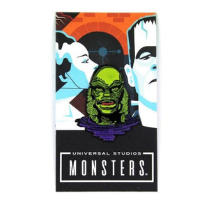 front of the Creature Lurking Enamel Pin on an officially licensed universal monsters pin card