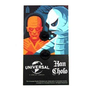back of the Creature Lurking Enamel Pin on an officially licensed universal monsters pin card