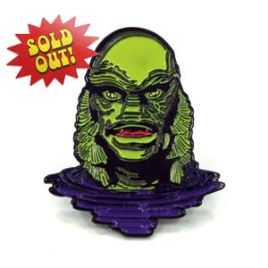 front of the Creature Lurking Enamel Pin from the universal monsters collection