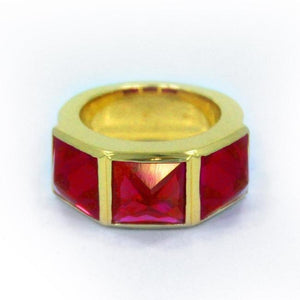 Crystal Spike Ring Vermeil W/ Red Stones / 7 Pm Rings