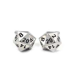 front shot of the D20 Cufflinks in silver on a white background