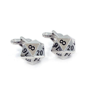 right shot of the D20 Cufflinks in silver on a white background