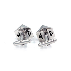 back shot of the D20 Cufflinks in silver on a white background