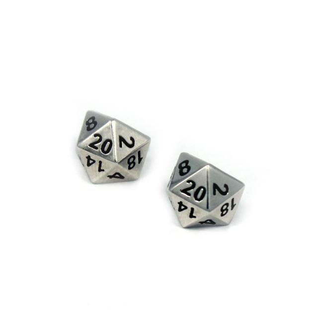 front view of the D20 stud earrings on a white background