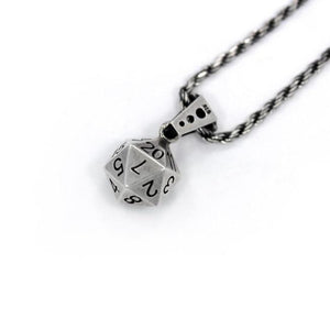 right angle shot of the D20 Pendant in silver on a white background