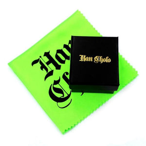 shot of the black han cholo jewelry box with a green polishing cloth