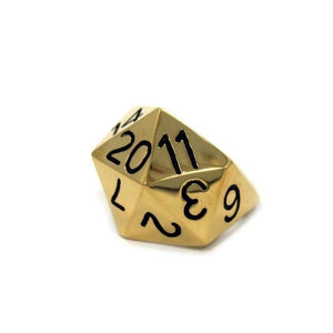 Right side view of the D20 ring in gold on a white background