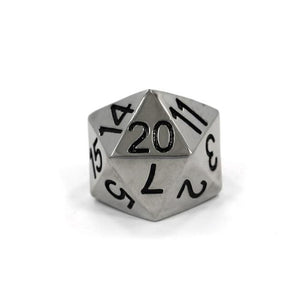 front view of the D20 ring in silver on a white background