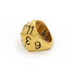 back left view of the D20 ring in gold on a white background
