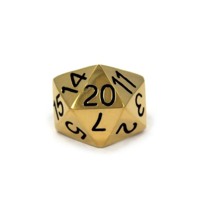 Right side view of the D20 ring in silver on a white background