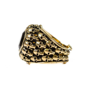 side of the Dead Ringer Ring in gold from the han cholo skulls collection
