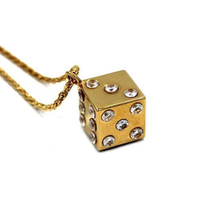 left side shot of the Dice Pendant in gold on a white background