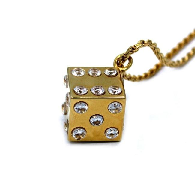 Dice Pendant Gold / 24 Ss Necklaces