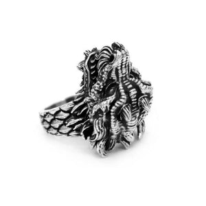 bottom angle of the Dragon Ring in silver from the han cholo fantasy collection