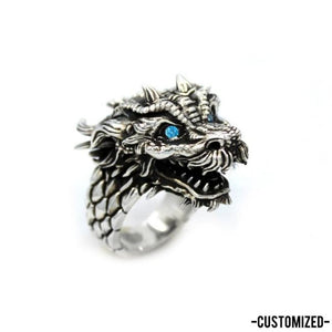 right angle of the Dragon Ring in silver from the han cholo fantasy collection with blue eyes