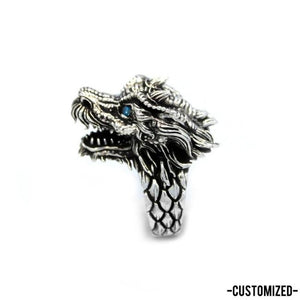 left side of the Dragon Ring in silver from the han cholo fantasy collection with blue eyes