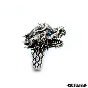 right side of the Dragon Ring in silver from the han cholo fantasy collection with blue eyes