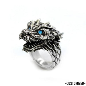 left angle of the Dragon Ring in silver from the han cholo fantasy collection with blue eyes