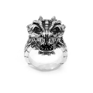 front of the Dragon Ring in silver from the han cholo fantasy collection