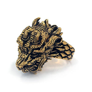 top left angle of the Dragon Ring in gold from the han cholo fantasy collection