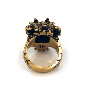 back angle of the Dragon Ring in gold from the han cholo fantasy collection