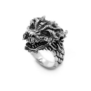 left angle of the Dragon Ring in silver from the han cholo fantasy collection