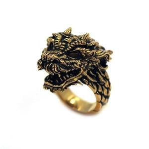 left angle of the Dragon Ring in gold from the han cholo fantasy collection