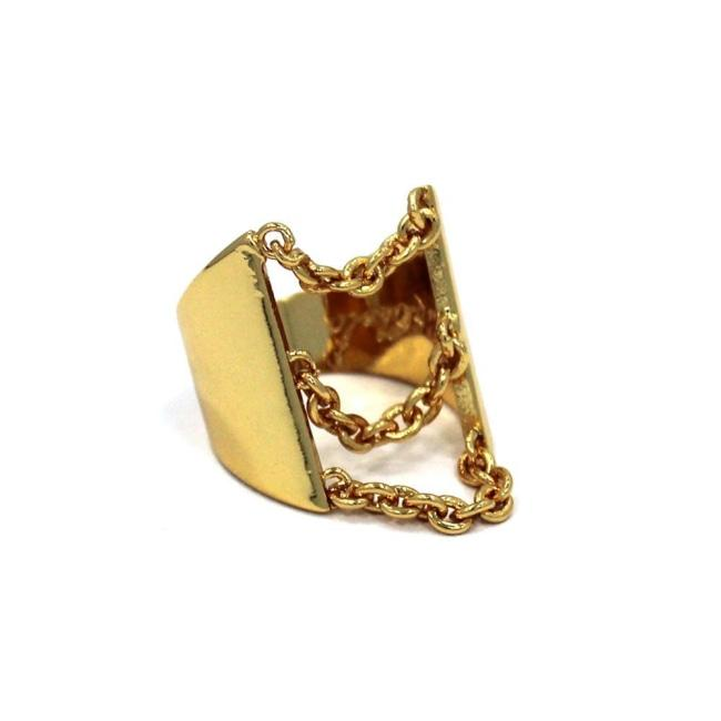 Drip Chain Ring Gold / 6 Ss Rings