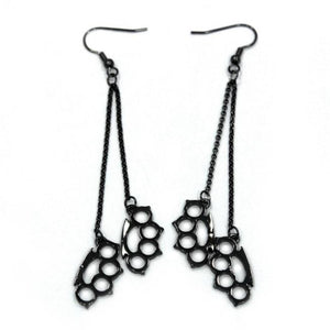 front of the Drop Down Knuckles Earrings in gunmetal from the han cholo shadow series