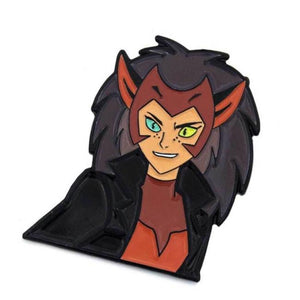 Angled and close up view of the Force-Captain Catra Enamel Pin leaning and angled to the right