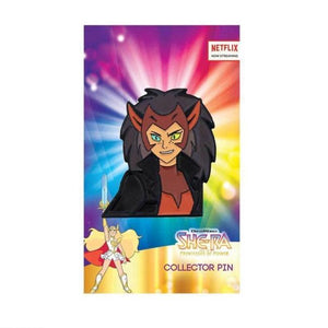 Front view of the force captain catra enamel pin on an officially licensed she-ra pin card