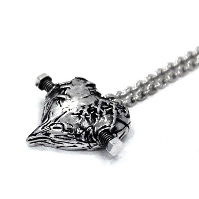 front of the Frankenheart pendant in sterling silver from the universal monsters jewelry collection