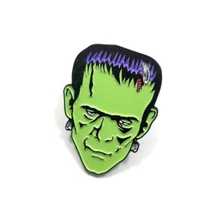 front angle of the Frankenstein Enamel Pin from the universal monsters jewelry collection