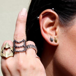 shot of a woman wearing han cholo rings and the Fu Earrings in silver