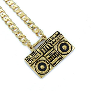 right angle of the Ghetto Blaster Necklace in gold from the han cholo music collection