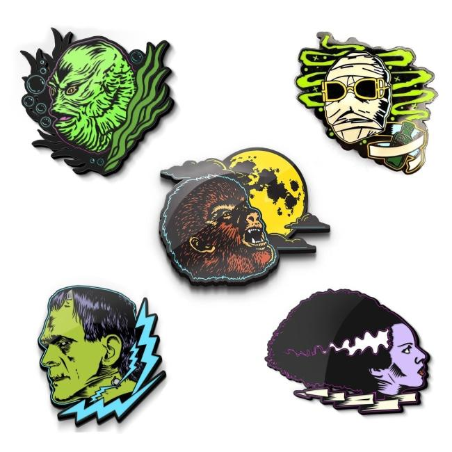 classic universal monsters glow in the dark enamel pins