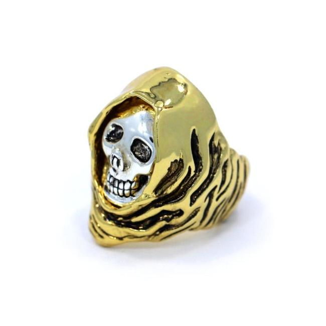 Grim Reaper Ring Gold/silver / 9 Ss Rings