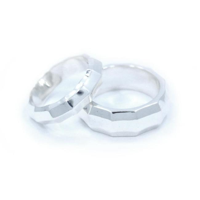 Her Faceted Band Sterling .925 / 6 Pm Rings