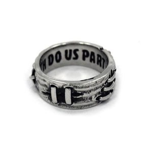 left side view of the Her till death do us part ring from the universal monsters collection