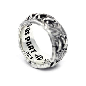angled view side view of the His till death do us part ring from the universal monsters collection