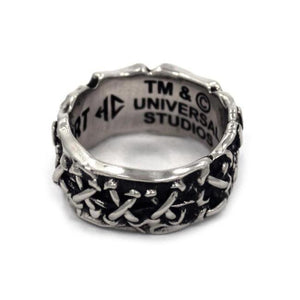 left side view of the His till death do us part ring from the universal monsters collection