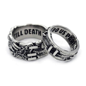 side view of the His and hers till death do us part ring from the universal monsters collection