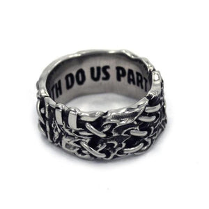 right side view of the His till death do us part ring from the universal monsters collection
