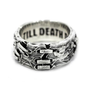 front view of the His till death do us part ring from the universal monsters collection