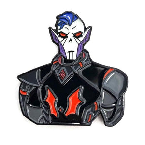 angled view of the Hordak Enamel Pin close up shoing omre detail of the face and enamel coloring